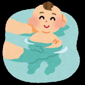 お風呂に入れられて気持ち良さそうな赤ちゃん
