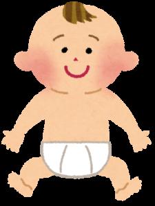 オムツだけ履いている赤ちゃん